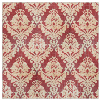 Vintage Damask Pattern In Cream And Red Fabric