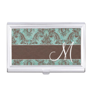 Vintage Damask Pattern with Monogram Business Card Case