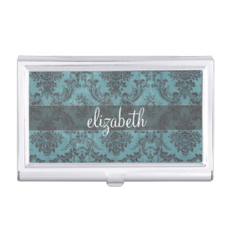 Vintage Damask Pattern with Monogram Business Card Holder