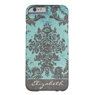 Vintage Damask Pattern with Name - teal gray Barely There iPhone 6 Case