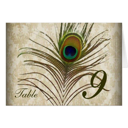 Vintage damask peacock wedding table number card