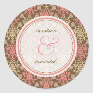Vintage Damask Pink Lace Elegant Wedding Sticker