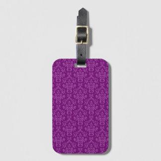 vintage Damask, purple Bag Tag
