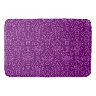 vintage Damask, purple Bathroom Mat