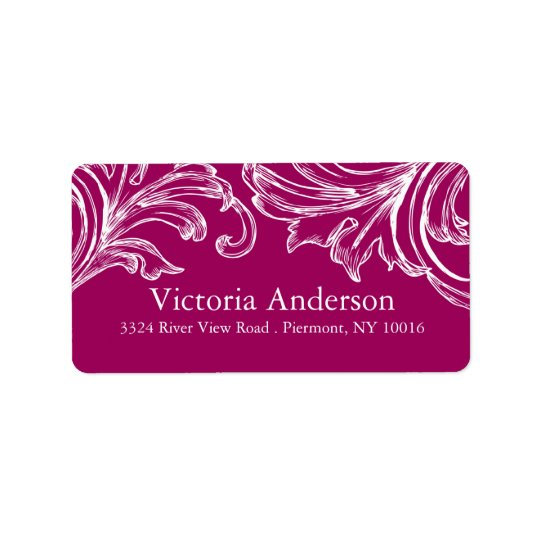 Vintage Damask Return Address Labels  RASPBERRY