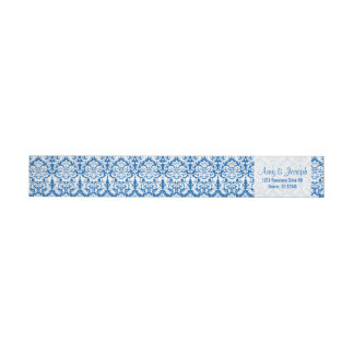Vintage Damask Royal Blue White Return Address Wrap Around Label