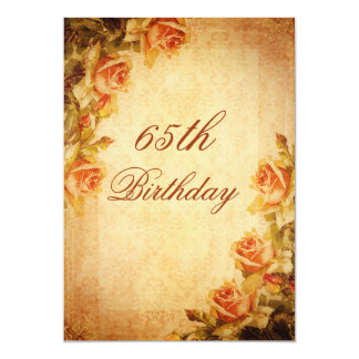 Vintage Damask Shabby Chic Peach Roses 65th 5x7 Paper Invitation Card