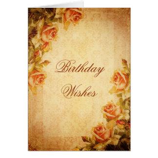 Vintage Damask Shabby Chic Peach Roses Birthday Card