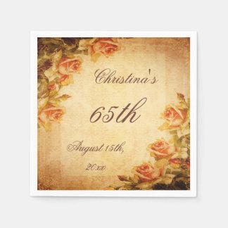 Vintage Damask Shabby Chic Peach Roses Serviettes Disposable Napkins