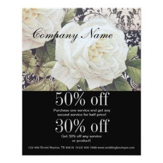 vintage damask white rose floral fashion business custom flyer
