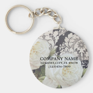 vintage damask white rose floral fashion business keychain