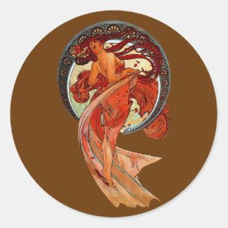 vintage dancer classic round sticker