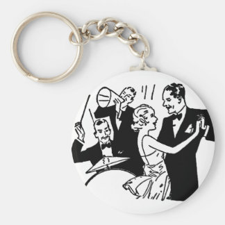 Vintage Dancing Couple Basic Round Button Keychain