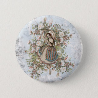 Vintage Dancing Gypsy Floral Mix and Match 2 Inch Round Button