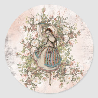 Vintage Dancing Gypsy Floral Mix and Match Classic Round Sticker