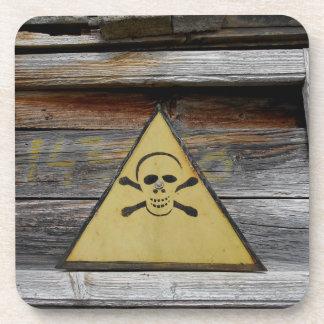 Vintage Danger Sign On Rustic Wood Coaster