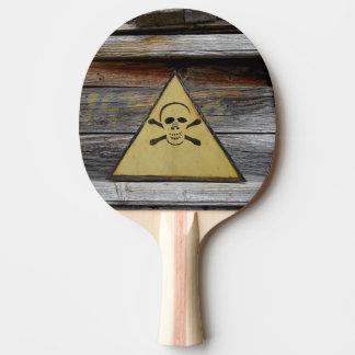 Vintage Danger Sign On Rustic Wood Ping Pong Paddle