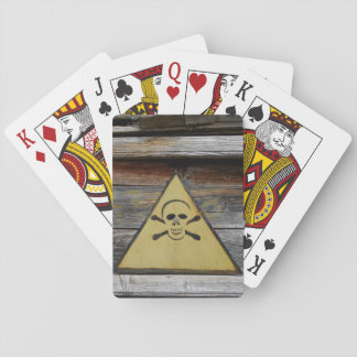 Vintage Danger Sign On Rustic Wood Playing Cards