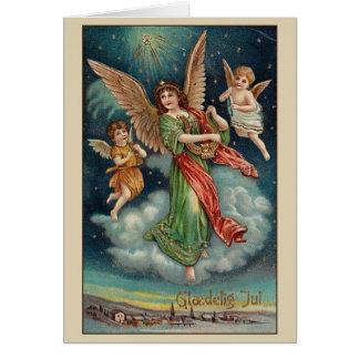 Vintage Danish Angels Glædelig Jul Christmas Card