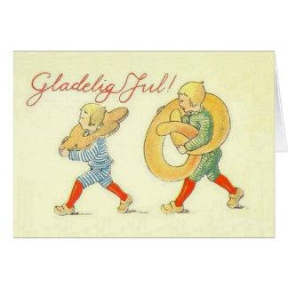Vintage Danish Gladelig Jul Christmas Card