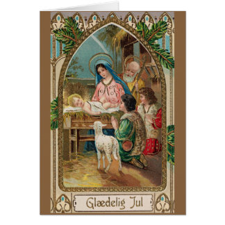 Vintage Danish Religious Christmas Greeting Card