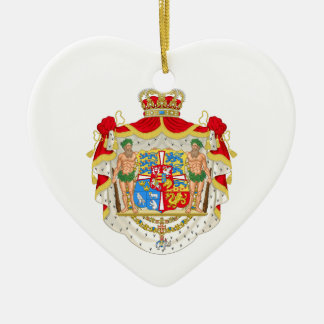 Vintage Danish Royal Coat of Arms of Denmark Ceramic Heart Ornament