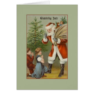 Vintage Danish Santa Glædelig Jul Christmas Card