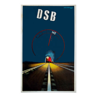 Vintage Danish Train Travel Poster