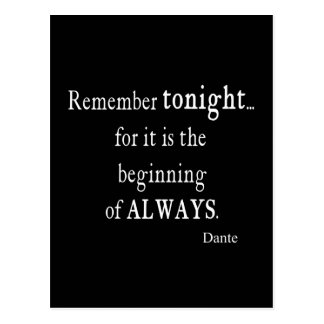 Vintage Dante Remember Tonight Always Quote Quotes Postcard