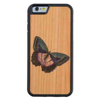 Vintage Dark Blue Purple Butterfly 1896 Template Carved Cherry iPhone 6 Bumper Case