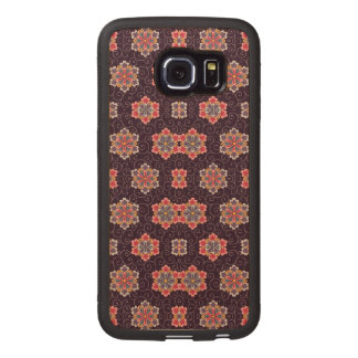 Vintage Dark Purple with Flowers Wood Phone Case