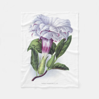 VINTAGE Datura Cornucopia PURPLE FLORAL Fleece Blanket