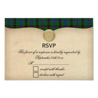 Vintage Davidson Clan Tartan Plaid Wedding RSVP Card
