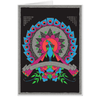 Vintage Deco Peacock with Banner Silver Card