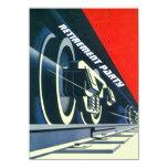 "Vintage Deco Train Tracks Retirement RR Invitation 4.5"" X 6.25"" Invitation Card"
