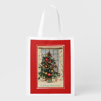 Vintage Decorated Christmas Tree Red Reusable Grocery Bag
