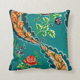 Vintage Decorative Colorful French Floral Design Throw Pillow