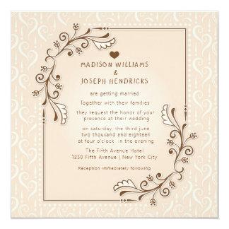 Vintage decorative floral wedding invitation