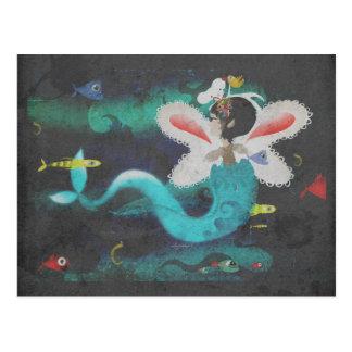 Vintage deep aqua light ocean sushi fish postcard
