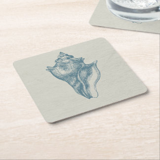 Vintage Deep Ocean Blue Shell Square Paper Coaster