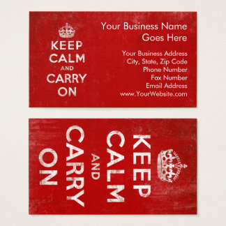 Vintage Deep Red Distressed Keep Calm and Carry On Business Card
