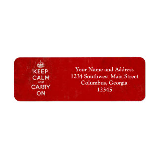 Vintage Deep Red Distressed Keep Calm and Carry On Return Address Labels