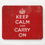 Vintage Deep Red Distressed Keep Calm and Carry On Mousepad