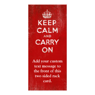Vintage Deep Red Distressed Keep Calm and Carry On Rack Card