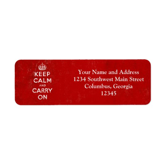 Vintage Deep Red Distressed Keep Calm and Carry On Return Address Label