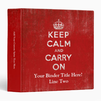 Vintage Deep Red Distressed Keep Calm and Carry On Vinyl Binders