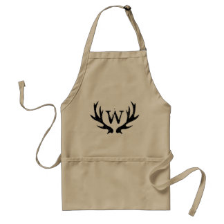 Vintage deer antler BBQ apron with name monogram