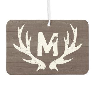Vintage deer antlers monogram car air freshener
