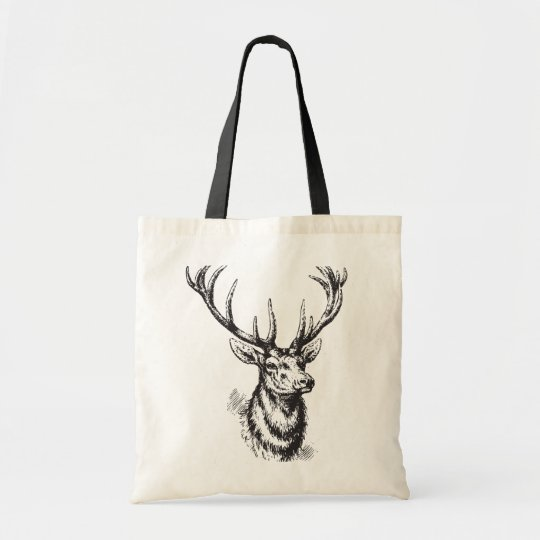 Vintage Deer Antlers Print Tote Bag