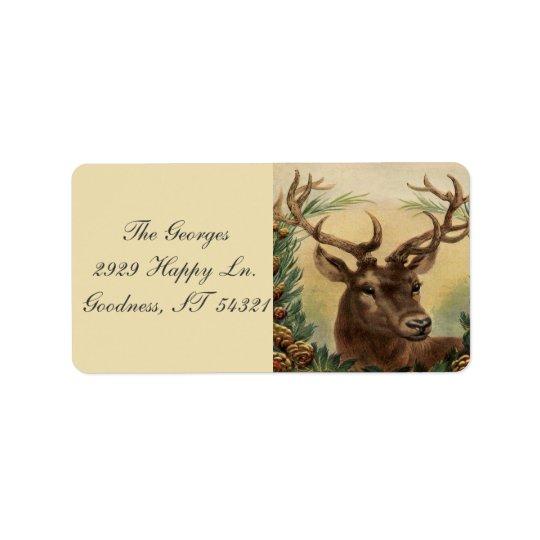 Vintage Deer Buck Stag Nature Rustic Christmas
